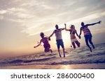 diverse beach summer friends... | Shutterstock . vector #286000400