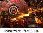 sparks while cutting steel in... | Shutterstock . vector #286013648