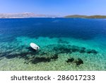 clear blue beach at korcula... | Shutterstock . vector #286017233