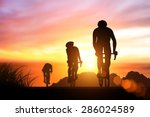 silhouette bike on sunset and... | Shutterstock . vector #286024589