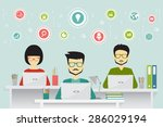 coworking  teamworking and... | Shutterstock .eps vector #286029194