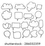 set of speech bubble hand drawn ... | Shutterstock .eps vector #286032359