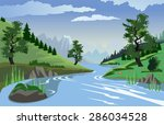 A beautiful view of a quiet river flowing through a valley
