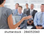 businesswoman doing conference... | Shutterstock . vector #286052060
