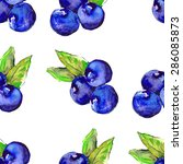 watercolor blueberries seamless ... | Shutterstock .eps vector #286085873
