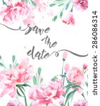 save the date with a watercolor ... | Shutterstock .eps vector #286086314