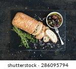 italian ciabatta bread cut in...   Shutterstock . vector #286095794
