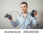 happy young man in winning pose ... | Shutterstock . vector #286100330