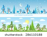 flat vector forest illustration ... | Shutterstock .eps vector #286110188