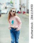 hipster fashion girl urban... | Shutterstock . vector #286115450