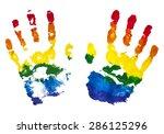 colorful rainbow children hand... | Shutterstock .eps vector #286125296