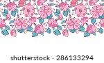 vector pink blue kimono flowers ... | Shutterstock .eps vector #286133294