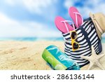beach  summer  group of objects. | Shutterstock . vector #286136144