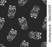 santa claus doodle seamless... | Shutterstock .eps vector #286143329