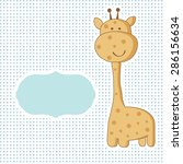 baby boy arrival card with cute ... | Shutterstock .eps vector #286156634