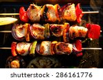 Grilled Skewers Of Salmon And...