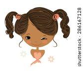 cute girl smiling  sketch for... | Shutterstock .eps vector #286167128