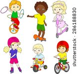 children riding unicycle ... | Shutterstock .eps vector #286188830