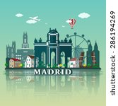 modern madrid city skyline... | Shutterstock .eps vector #286194269