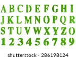 hand painted green alphabet | Shutterstock . vector #286198124