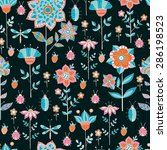 hand drawn pattern with wild... | Shutterstock .eps vector #286198523