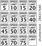 road speed limit signs in... | Shutterstock .eps vector #286217660