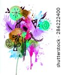 unusual abstract boho... | Shutterstock . vector #286222400