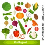 set of various fresh vegetables ... | Shutterstock .eps vector #286222544