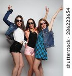 fashion portrait of three... | Shutterstock . vector #286223654
