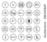 a set of vector icons flat line.... | Shutterstock .eps vector #286242869