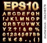 vector set of metallic letters... | Shutterstock .eps vector #286248578