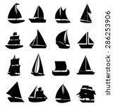 sail boat icons set | Shutterstock .eps vector #286253906