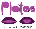 pink word plates with two... | Shutterstock .eps vector #286258808