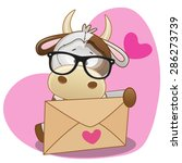 Cute Cow In With Envelope On A...