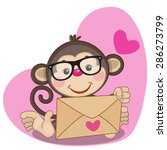 cute monkey in with envelope on ... | Shutterstock .eps vector #286273799