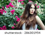 beautiful brunette woman in... | Shutterstock . vector #286301954