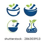 mortar and pestle icon  | Shutterstock .eps vector #286303913