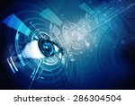 digital eye with security... | Shutterstock . vector #286304504