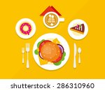 food objects on table concept... | Shutterstock .eps vector #286310960