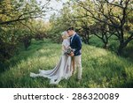 couple in wedding attire with a ... | Shutterstock . vector #286320089
