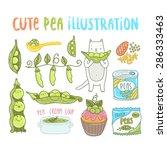 cute cartoon set of pea... | Shutterstock .eps vector #286333463