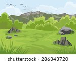 mountains landscape with trees... | Shutterstock .eps vector #286343720