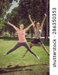 two girls doing sport exercises ... | Shutterstock . vector #286350353