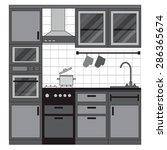kitchen interior design. home... | Shutterstock .eps vector #286365674