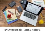 messy workspace of freelancer... | Shutterstock . vector #286375898