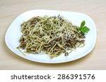 pasta with beef  pesto sauce... | Shutterstock . vector #286391576