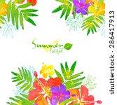 bright tropical flowers summer... | Shutterstock . vector #286417913