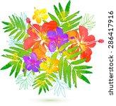bright tropical flowers summer... | Shutterstock . vector #286417916