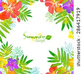 bright tropical flowers summer... | Shutterstock . vector #286417919