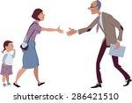 woman with a little girl meets... | Shutterstock .eps vector #286421510